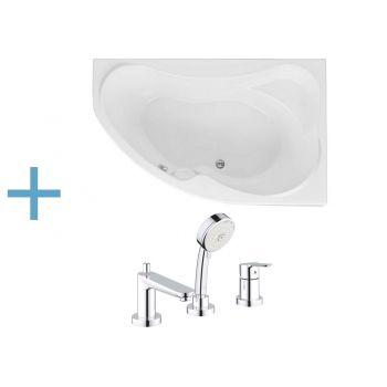 Акриловая ванна Aquanet Capri 160x100 R (каркас + смеситель Grohe BauEdge 2511700A)