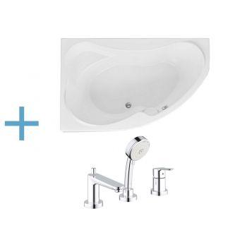 Акриловая ванна Aquanet Capri 160x100 L (каркас + смеситель Grohe BauEdge 2511700A)