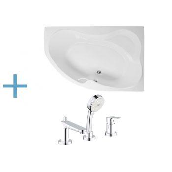 Акриловая ванна Aquanet Capri 170x110 R (каркас + смеситель Grohe BauEdge 2511700A)