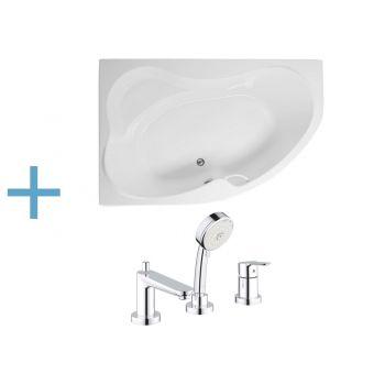 Акриловая ванна Aquanet Capri 170x110 L (каркас + смеситель Grohe BauEdge 2511700A)